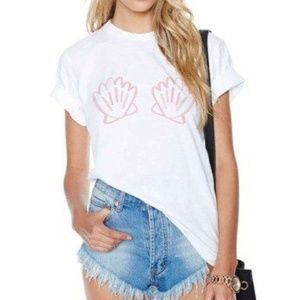 Tops - White Pink Mermaid Shell Tee Shirt